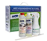 AGO® Anti Schimmel Imprägnierung Set 4-TLG I Je 1x Schimmelentferner Schimmelstop Handsprühflasche Pinsel