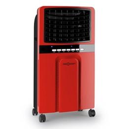 oneConcept Baltic Red Luftkühler Lufterfrischer (Ventilator, 3 Leistungsstufen, Fernbedienung, stromsparend, 65 Watt, 6 Liter Wassertank, inkl. Eispacks) rot -