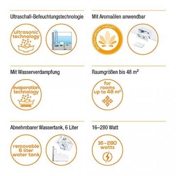 Beurer LB 88 Luftbefeuchter, mikrofeine Zerstäubung mit Ultraschall, bakterienarm, für Räume bis 48 m², weiß - 2