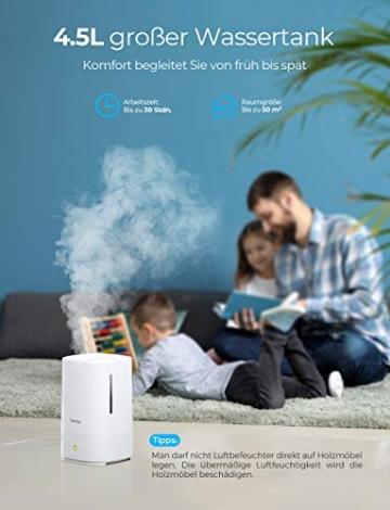 Homasy Ultraschall Luftbefeuchter, 4.5L Top-Füllung Humidifier bis zu 40-50m², Ultra Leise Raumluftbefeuchter, Luftbefeuchter Schlafzimmer mit Schlafmodus, 30h Arbeitszeit-Weiß - 2