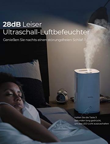 Homasy Ultraschall Luftbefeuchter, 4.5L Top-Füllung Humidifier bis zu 40-50m², Ultra Leise Raumluftbefeuchter, Luftbefeuchter Schlafzimmer mit Schlafmodus, 30h Arbeitszeit-Weiß - 3