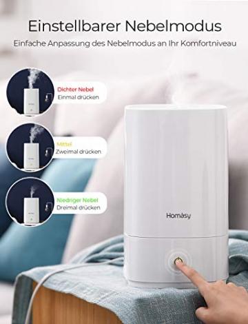 Homasy Ultraschall Luftbefeuchter, 4.5L Top-Füllung Humidifier bis zu 40-50m², Ultra Leise Raumluftbefeuchter, Luftbefeuchter Schlafzimmer mit Schlafmodus, 30h Arbeitszeit-Weiß - 7